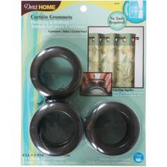 @Overstock - DRITZ-Curtain Grommets. Design and accessorize your own curtains with these easy to use curtain grommets. No tools required; snap together! This package contains eight 1-9/16 inch rustic grown grommets and one tracing template.http://www.overstock.com/Crafts-Sewing/Grommets-1-9-16-Inner-Diameter-8-Pkg-Brown/6792933/product.html?CID=214117 $9.99