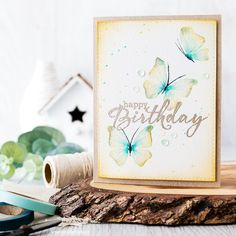 Watercolored Butterflies by limedoodle - Cards and Paper Crafts at Splitcoaststampers Butterfly Birthday Cards, Butterfly Cards, Card Making Inspiration, Making Ideas, Homemade Birthday Cards, Doodle Designs, Beautiful Handmade Cards, Watercolor Cards, Watercolour