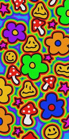 Hippie Wallpaper, Trippy Wallpaper, Retro Wallpaper, Kids Wallpaper, Wallpaper Iphone Cute, Cartoon Wallpaper, Cute Wallpapers, Hello Kitty Wallpaper, Arte Indie