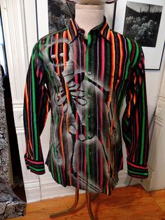 Sugar Skull Mens Multicolored Striped Shirt by GraveyardShift13
