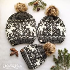 Moosey Slouchy pattern by Athena Forbes When searching for a moose slouch hat pattern I couldn't find one I liked, so what could I do but Fair Isle Knitting Patterns, Knit Patterns, Stitch Patterns, Loom Knitting, Baby Knitting, Vintage Knitting, Free Knitting, Knit Crochet, Crochet Hats