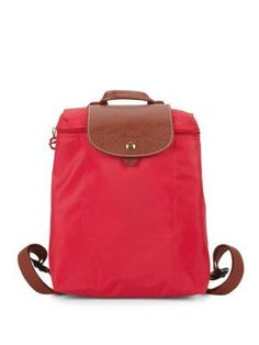 Longchamp Le Pilage Zipped Backpack In Red Model Street Style, Street Style Women, Replica Handbags, Designer Handbags, Designer Purses, Milan Fashion Weeks, New York Fashion, Crossbody Bag, Tote Bag