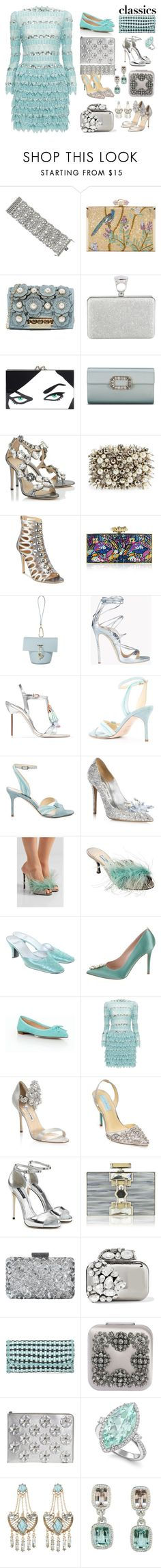 """Tried and True: Wardrobe Staples"" by yours-styling-best-friend ❤ liked on Polyvore featuring Judith Leiber, ZAC Zac Posen, Tom Ford, Charlotte Olympia, Natasha, GUESS, Dsquared2, Sophia Webster, Sarah Flint and Jimmy Choo"