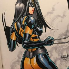 """Laura Kinney by Jose Varese #x23 #commission done at #nycc. #wolverine #xmen #xforce #drawingoftheday #artoftheday"""""""