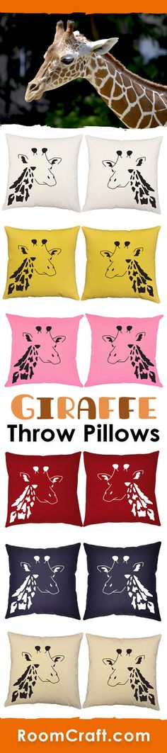 These majestic creatures will bring a touch of wild to your space. Our giraffe throw pillows are offered in multiple colors, sizes and fabrics making then perfect for your home, office, or sun room. The quality safari pillow covers are made to order in the USA and feature 3 wooden buttons on the back for closure. Choose your favorite and create a truly unique pillow set. #roomcraft