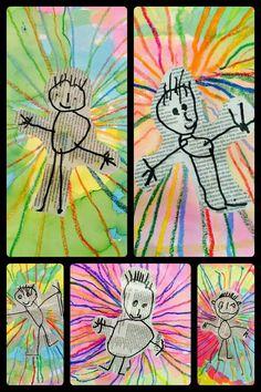 Newspaper Art For Kids Classroom 62 Best Ideas Kindergarten Art, Preschool Art, Kindergarten Self Portraits, Journal D'art, Art For Kids, Crafts For Kids, Classe D'art, Newspaper Crafts, Process Art