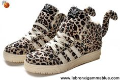 Buy 2013 New Adidas X Jeremy Scott Leopard Villus Shoes