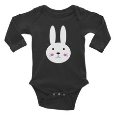 Lovely Cute Cartoon Illustration White Bunny Infant Long Sleeve Bodysuit