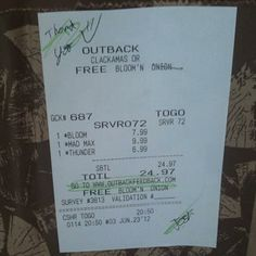 Jamie D. earning Facebook Credits through Plink at Outback Steakhouse in Oregon
