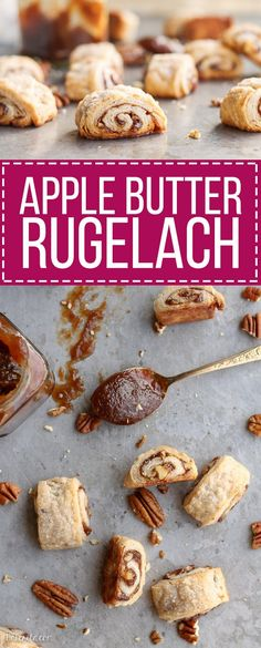 These Apple Butter Rugelach will be gone before you know it - you can't eat just one! Butter and cream cheese make the rugelach dough super tender and flaky. by anita Apple Recipes, Baking Recipes, Cookie Recipes, Dessert Recipes, Holiday Recipes, Gf Recipes, Recipies, Holiday Baking, Christmas Baking