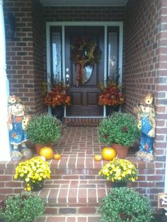 Fall Decorations for front porch and steps!