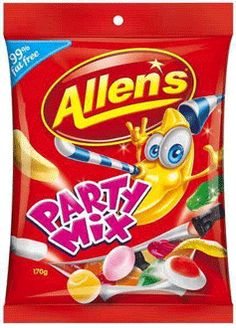 Nestle Allens Party Mix Jellies 190g. Delicious favourites for parties, lolly bags and jars. A mix of Allen Favourites. Milk Bottles, Black Cats, Strawberries and Cream, Red Frogs, Jelly Babies, Bananas, Orange Creme and Snakes. 99 percent fat free.