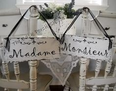 MADAME / MONSIEUR  French Chair Signs / Visit my store for OVER 100 different Wedding Signs on Etsy, $36.95