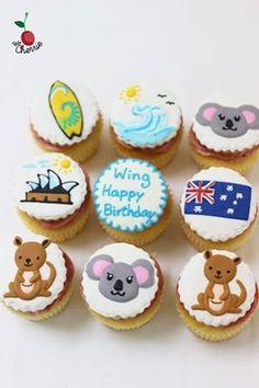 Australia Theme Cupcakes Icing cookies on top