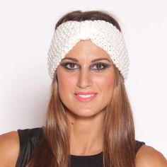 Turban Knit Headband White  by Just Jamie Scarves