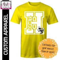 CUSTOM APPAREL: Custom Block Letter School Spirit T-Shirt by LauraWashburnDesigns on Etsy https://www.etsy.com/listing/399061361/custom-apparel-custom-block-letter