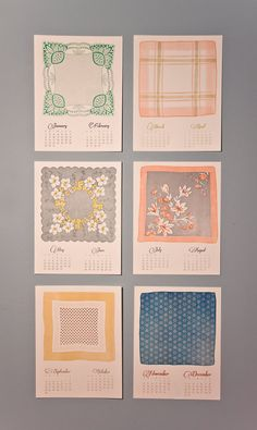 2012 Vintage Handkerchief Letterpress Calendar