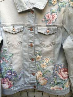 Bordar ou colar? flores em casacos super feminino