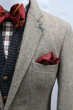 """pale gray tweed blazer, charcoal cardigan, burgundy pocket square, bow tie with """"Gryffindor"""" colors."""