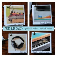 DIY Photo flip chart for morning or bedtime routine, daily chores, etc.