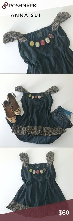 """⭐️ Anna Sui top, size M/L Green top with accent sleeves and neckline from Ann Sui.  Scoop neck, cap or off-shoulder sleeves and hemline in paisley print, earth colored stones for neckline.  Relaxed fit.  Fun style.  🍈 Size medium/large - bust 36"""", waist 42"""", length 24"""" 🍈 Condition: good - light wear 🍈 Material: 100% cotton (trim 100% silk) Anna Sui Tops Blouses"""