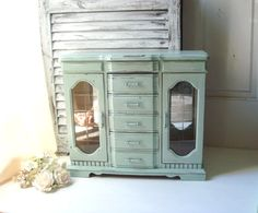 Mint Green Large Jewelry Box Pastel Green Big by WillowsEndCottage