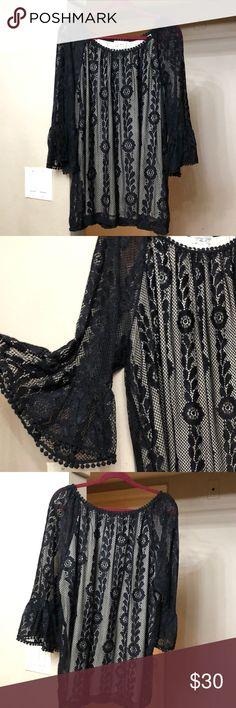 BLACK CROCHET PLUS SIZE TOP Beautiful black crochet plus size top. JohnPaulRichard Tops Blouses