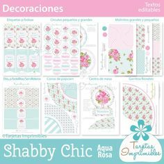 25 Ideas shabby chic aqua que te enamorarán Cumpleaños Shabby Chic, Shaby Chic, Shabby Chic Interiors, Candy Bar Party, Party Favors, Origami, Baby Shawer, Ideas Para Fiestas, Projects To Try