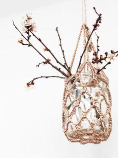 hanging mason jar flower arrangement