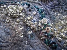 Louise Watson - Textile Artist Barnacles on a Mussel Shell Textile Fiber Art, Textile Artists, Beaded Embroidery, Hand Embroidery, Abstract Embroidery, Modern Embroidery, Vintage Embroidery, Embroidery Ideas, Embroidery Stitches