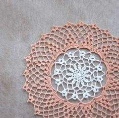 Peaches and Cream Crochet Lace Doily, Pastel Peach Lattice, White Flower by NutmegCottage on Etsy