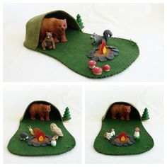 Campfire Playscape Play Mat - woodland camping forest - pretend play unisex - fairy forest animal storytelling fantasy fairytale cave toy