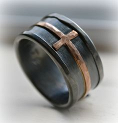 mens wedding band  rustic hammered cross ring all by MaggiDesigns