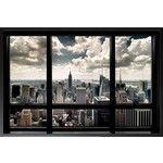 New York City Window 36x24 Wood Framed Poster Art Print Skyline Empire State Building