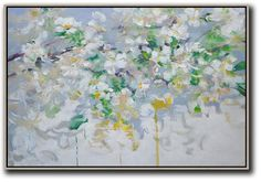 Horizontal Abstract Flower Painting #LX7C #Abstract #Artists_Lin-Xiang #flower-oil-painting