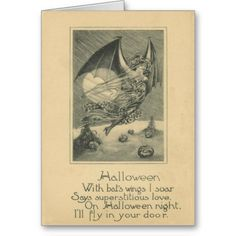 Bat Woman Jack O Lantern Pumpkin Cornstalk Full Mo Card