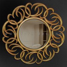 Cermin Hias Bulat Kayu   FurniDes.Com