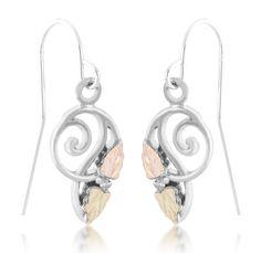 Sterling & Black Hills Gold Freeform Shepherd Hook Earrings