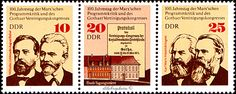 German Democratic Republic.  100 YEARS OF MARXISM.  Scott A502: 10 WILHELM LIEBKNECHT, AUGUST BEBEL (1650);  20 TIVOLI HOUSE & FRONT PAGE OF  PROTOCOL OF GOTHA (1651); 25 KARL MARX & FRIEDRICH ENGELS (1652).  Issued 1975 May 21, Photo. /ldb.