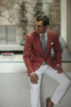 Smart casual, white pants, rust colored sport jacket