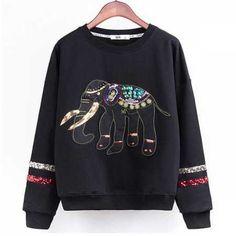 Sequins Elephant sweatshirt pullover for women
