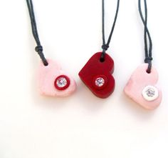 Sparkling Heart Necklaces, Set of Three, Polymer Clay Hearts on Etsy, $42.00