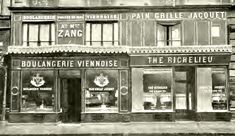 The original Boulangerie Viennoise in 1909 (when it was owned by Philibert Jacquet). The bakery proper is at left and its tea salon at right. The birth of the croissant itself – that is, its adaptation from the plainer form of kipferl, before the invention of viennoiserie – can be dated to at latest 1839 (some say 1838), when an Austrian artillery officer, August Zang, founded a Viennese bakery (