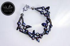 """Black Pearl & Hematite Double Strand """"Spiky"""" Bracelet #etsy #handmade #iriselise"""