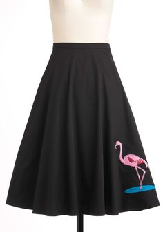 SO FREAKIN AWSOME   Flock Hop Skirt - Black, Blue, Pink, Print with Animals, A-line, Long, Vintage Inspired, 50s, Work, Casual