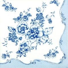 4-x-Single-Luxury-Paper-Napkins-for-Decoupage-and-Craft-Vintage-Blue-Flowers