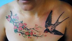 swallow tattoo, as would be seen from below... unusual in a tat, but after all, they're usually above us, so it makes sense