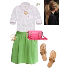 """Preppy pink dots & green"" by maomi on Polyvore"