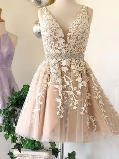 white sleeveless applique homecoming dressv-nck beaded tulle lace school event dress Sweet Baby Online Store Powered by Storenvy Cheap Short Prom Dresses, Hoco Dresses, Tulle Prom Dress, Event Dresses, Pretty Dresses, Tulle Lace, Wedding Dresses, Lace Wedding, Sexy Dresses