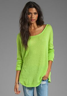 Gypsy Junkies Everyday Scoop Neck Sweater in Neon